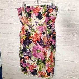 J crew floral strapless dress 12